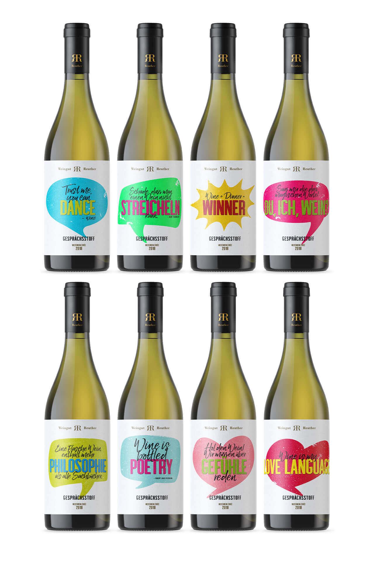 Gesprächsstoff. Verpackungsdesign / packaging design mit diversen Sprüchen für Jacques Weindepot und Weingut Reuther.