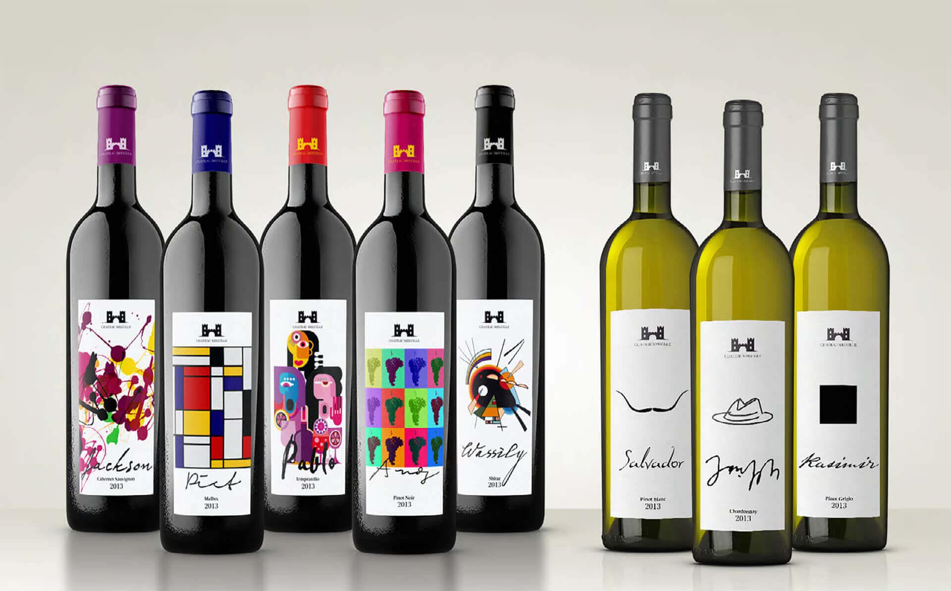 Verpackungsdesign / packaging design von Weinetiketten inspiriert durch berühmte Künstler.