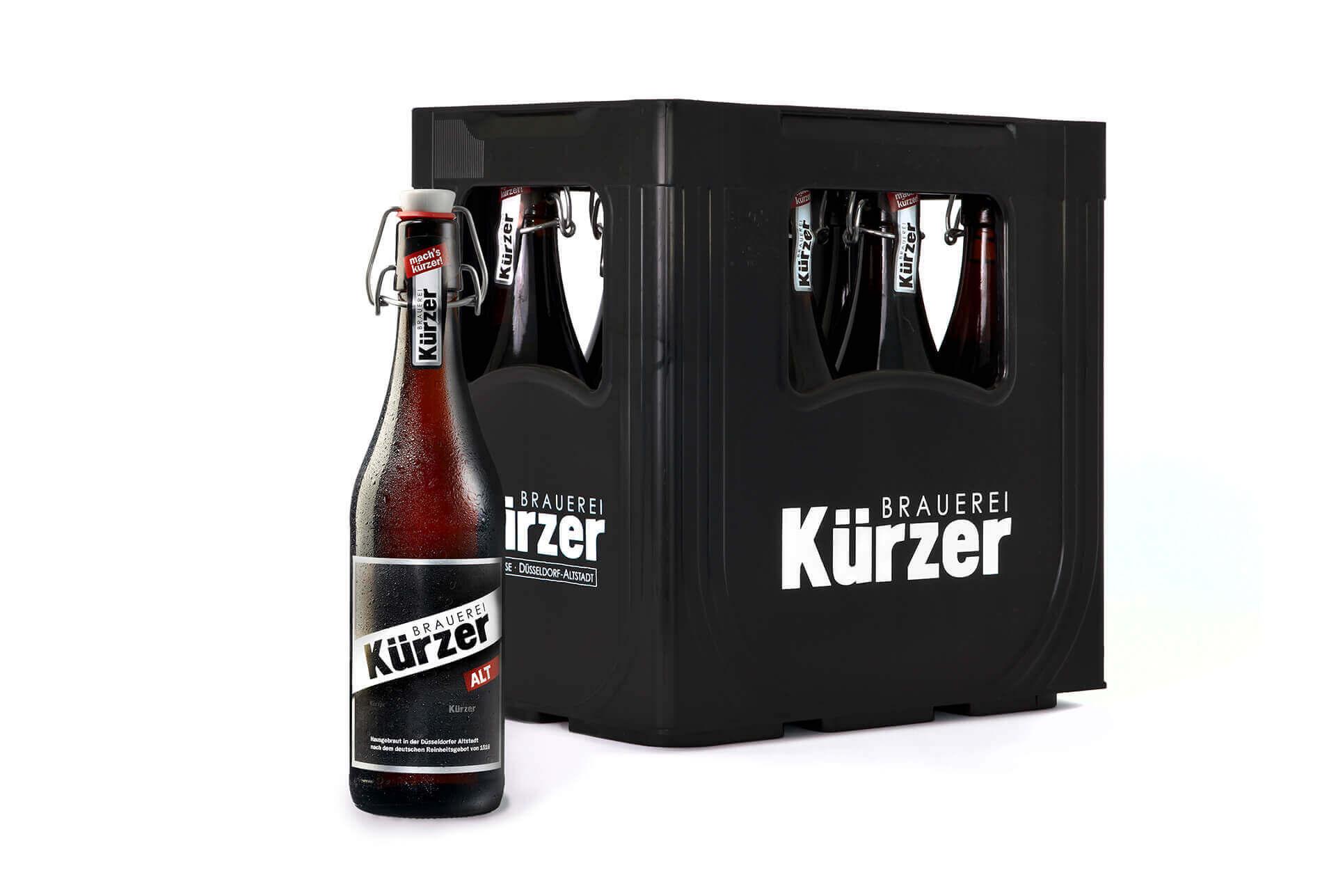 Verpackungsdesign / Etikettendesign der Bügelverschluss-Flasche und Kiste der Brauerei Kürzer.