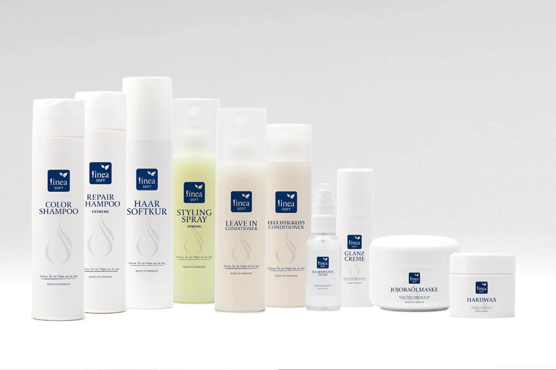 Verpackungsdesign / packaging design Beispiel für eine Kosmetik Serie / Haarpflegeprodukte.